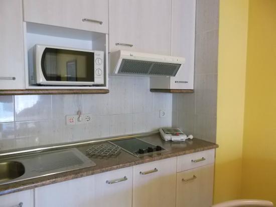 Aparthotel las Dunas: Vista de la cocina