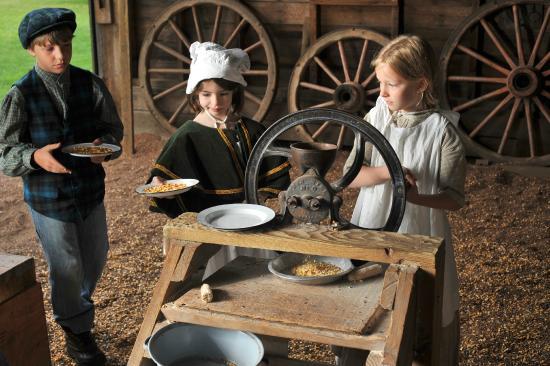 Grinding Corn In The 1860s Barn Picture Of Philip Foster Farm Eagle Creek Tripadvisor