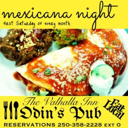 The Valhalla Inn: Mexicana Night - 1st Saturday of the Month. Reservations Required