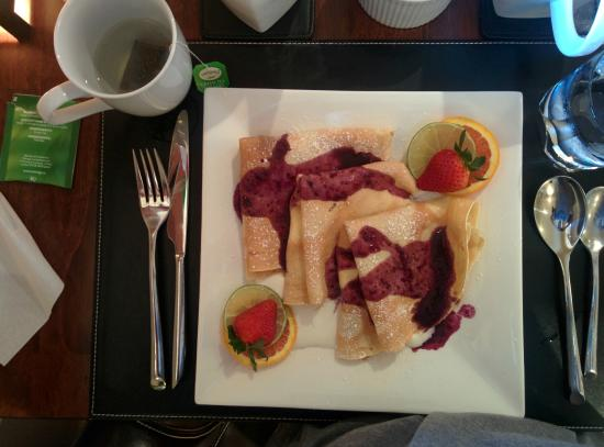 Shades of Jade Inn and Spa: Breakfast #2 - apple crepes (with a fruit smoothie and bacon on the side, not photographed)