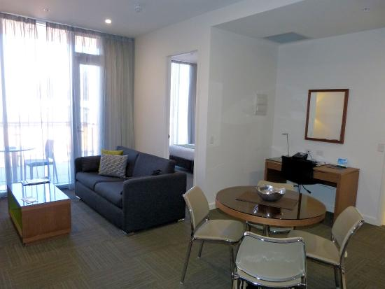 Quest On Franklin: View of the lounge and separate bedroom