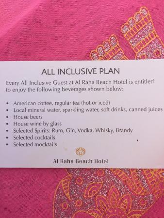 Al Raha Beach Hotel: All inclusive plan