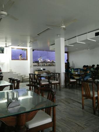 Surjit Food Plaza: Restaurant area (open kitchen at the end)