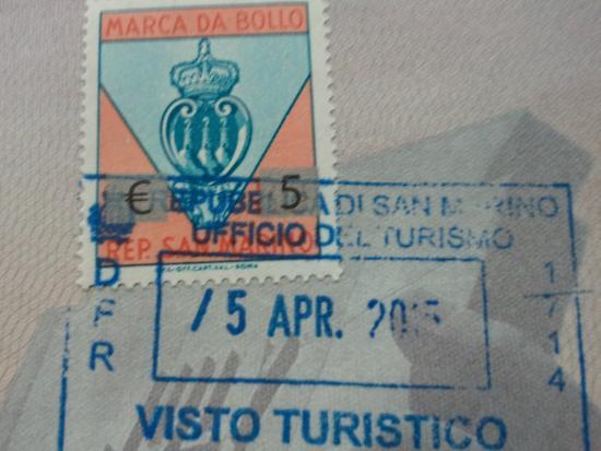 Tourism Office Of San Marino Passport Stamp