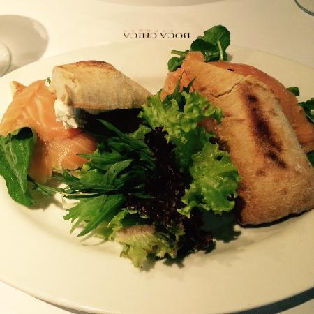 O sanduíche de salmão que pedi