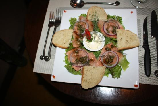 Exotica : Smoked Salmon dish with Capers and good bread.