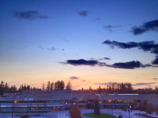 Comfort Inn & Suites Surrey: Sunset from 4th floor room looking over sports complex.