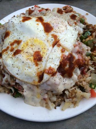 White's Restaurant: Don's big mess! Enough food for 2 large meals. They do offer a 1/2 mess and now a mini-mess, but