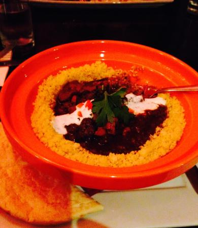 Nomad Cafe: Moroccan Lamb Tagine with Prune and Cinnamon– Tender pieces of lamb and seasonal vegetables. We
