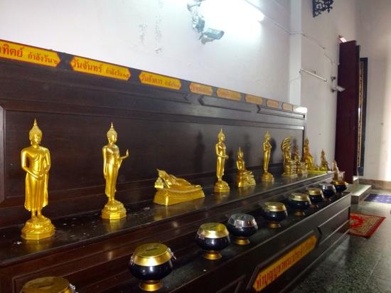 Wat Naphrameru : Bhuddas Representing Days of the Week