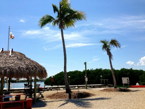 Bonefish Bay Motel: Tiki Hut and bay behind.