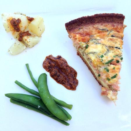 Saint Michael Parish, Barbados: Salmon quiche with a bread crumb crust.  Sun dried tomato purée.