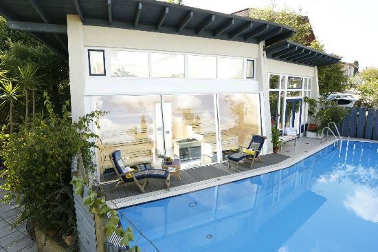 Landhotel am Rothenberg: Panorama-Sauna mit Außenschwimmbecken