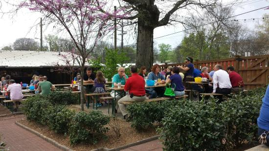 Fun outdoor seating picture of the pharmacy burger parlor beer garden nashville tripadvisor for The pharmacy burger parlor beer garden