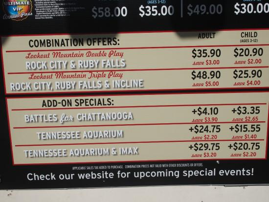 Lookout Mountain, GA: Ticket admission prices~