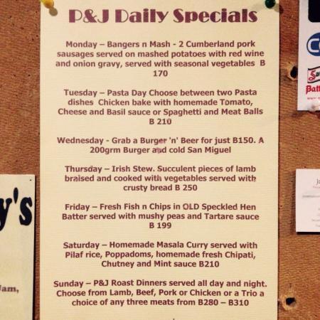 Punch & Judy Pub: Specials