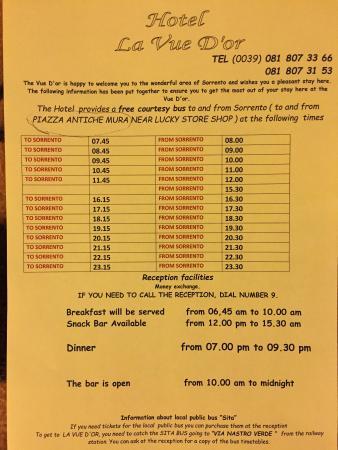 Hotel La Vue D'Or: Horarios de Bus