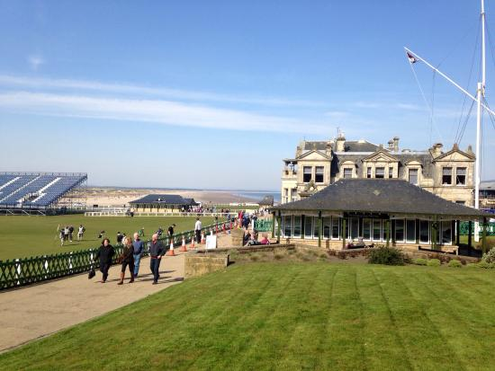 The Royal & Ancient Golf Club of St. Andrews: Stands going up in readiness for The Open.