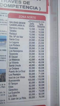 Las Caletillas, España: Taxi fare prices.