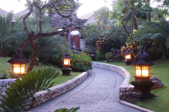 Asian Style Lighting asian-style lighting along pathways add ambiance to the resort