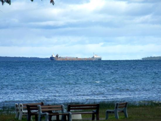 View from my cabin looking toward mackinac island with for Cabin rentals mackinaw city