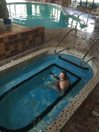 Evergreen Resort: My daughter in the hot tub