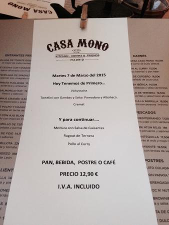 Men del d a primer plato picture of casa mono madrid - Casa mono restaurante ...