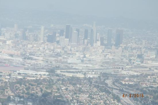 City Sightseeing Los Angeles: Downtown LA in the haze from the Observatory at Griffith Park