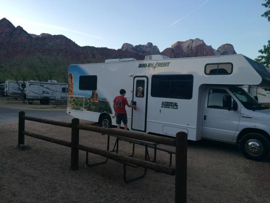 Zion Canyon Campground: our site by the river