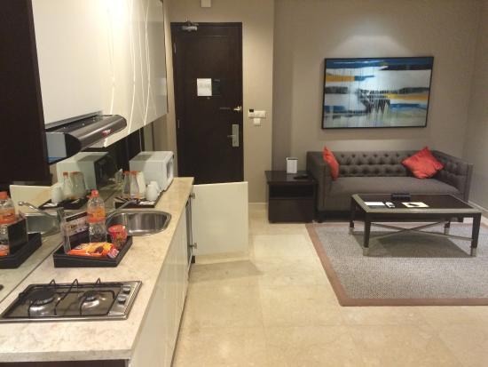 Pantry and living room 602 - Picture of The Grove Suites, Jakarta ...