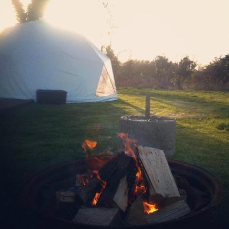 Away From It All : Our fire pit and dome!