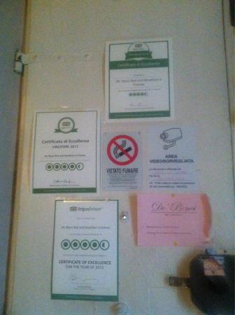 De' Benci Bed and Breakfast in Firenze: Certificati trip advisor
