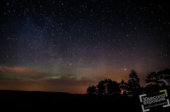 Oldmeldrum, UK : Stars and Northen lights from Dufftown, whisky country.