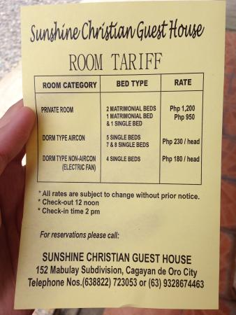 Room Rates Picture Of Sunshine Christian Guest House