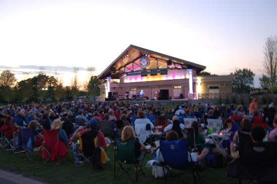 Fishers, IN: The Nickel Plate District Amphitheatre hosts concerts, plays, movie showings and more.