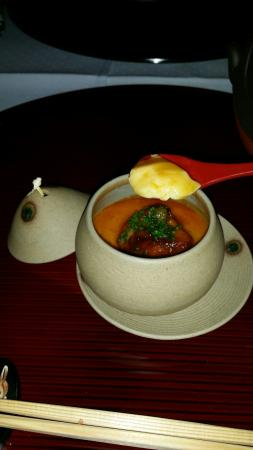 Ryokan USAGIYAMA / Hotel HASENBERG: Chawan-mushi with foie gras, smooth velvety curd with truffle sauce... exquisite!!!