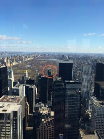 red circle is the Park Lane Hotel from the Top of the Rock