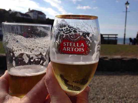 The Castle: Enjoying a pint!