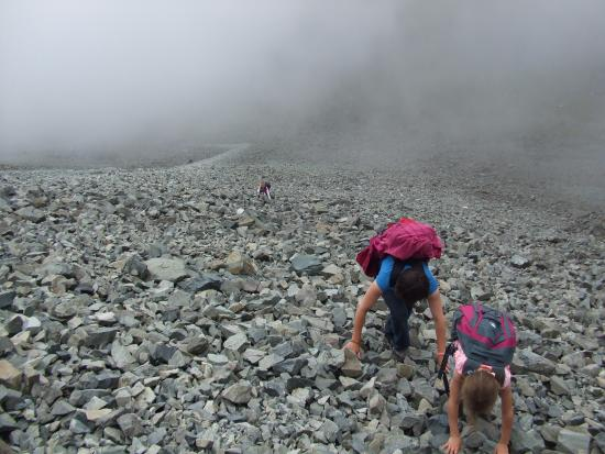 Sgurr Alasdair: My wife and daughters on the lower section of the Great Stone Shute