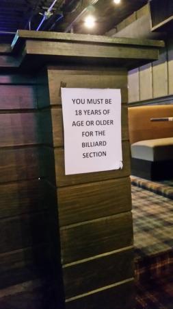 Aj's Sports Bar & Grill: NO CHILDREN ALLOWED