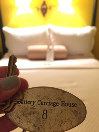 Battery Carriage House Inn : Boo!  Ghostly room at Battery Carriage.  Night 1 went without a hitch!  Cozy room.