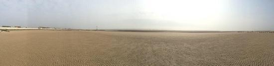 Tide out at Dymchurch beach panaramic