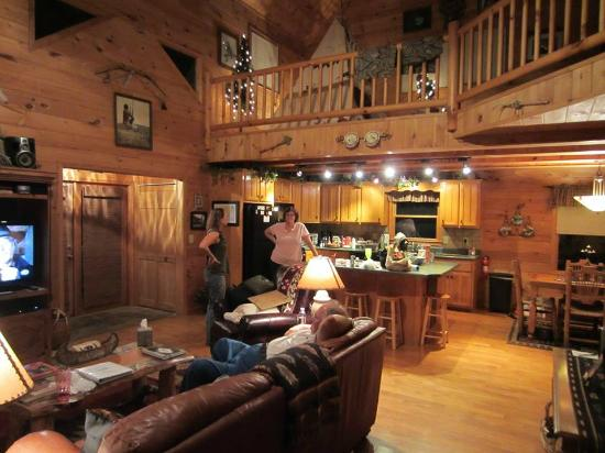 Above the Rest Cabins: living room and kitchen
