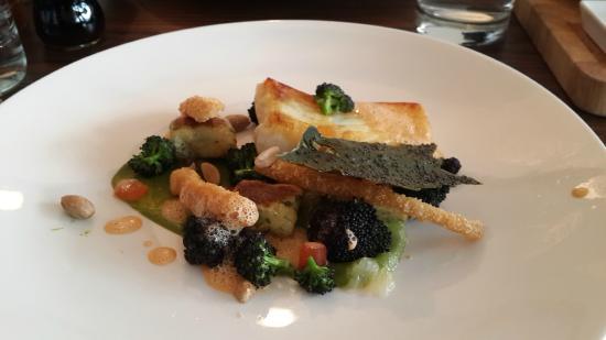 Gingerman: Brill, Squid, Broccoli, Almonds, Herb Gnocchi & Crab Velouté