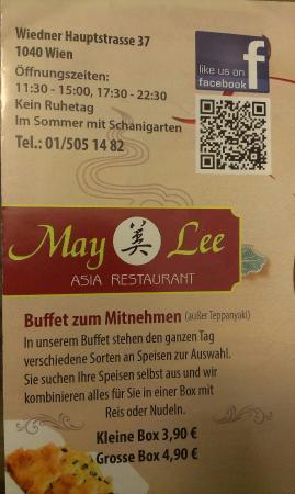 May Lee: Öffnungszeiten und Boxen zum Mitnehmen