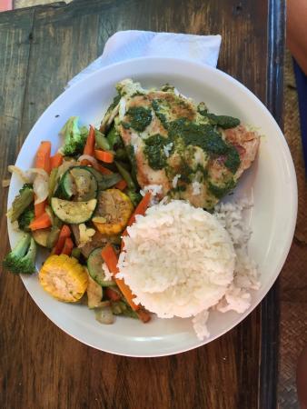 Zoola: Chicken with pesto.