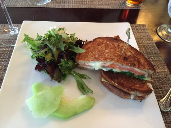 J's Restaurant: J's Grilled Cheese with avocado, arugula, and tomato off lunch menu. $11