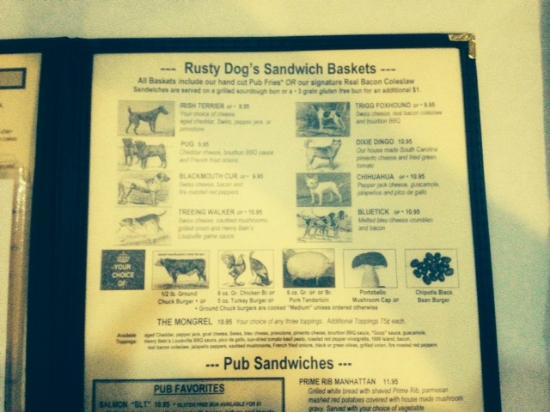 Rusty Dog Irish Pub: Rusty Dog's Sandwich Baskets Menu