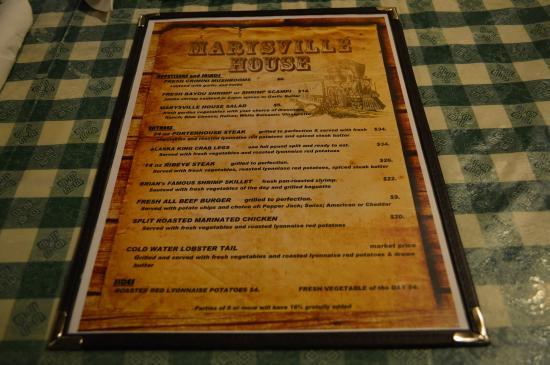 Marysville House Bar & Restaurant: Current menu