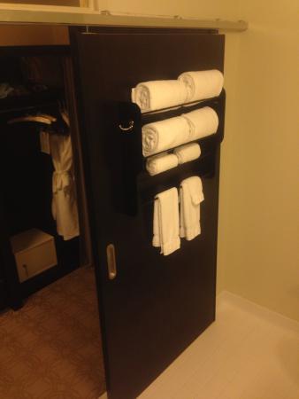 Proximity Hotel: Creative functioning sliding door/towel rack